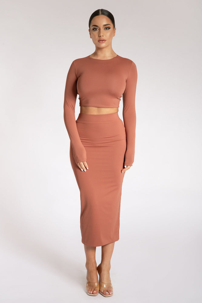 Emely Long Sleeve Crop Top - Sienna - MESHKI