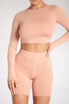 Cameryn High Waisted Bike Short - Apricot