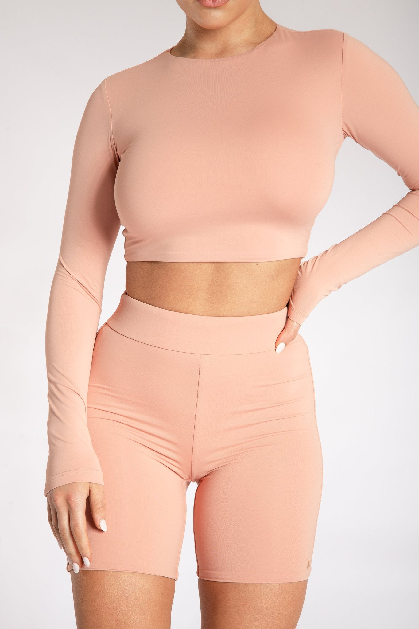 Emely Long Sleeve Crop Top - Apricot - MESHKI