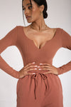 Malene V-Neck Ribbed Long Sleeve Bodysuit - Chocolate
