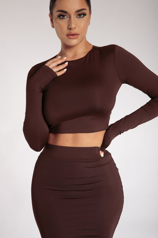 Emely Long Sleeve Crop Top - Chocolate - MESHKI