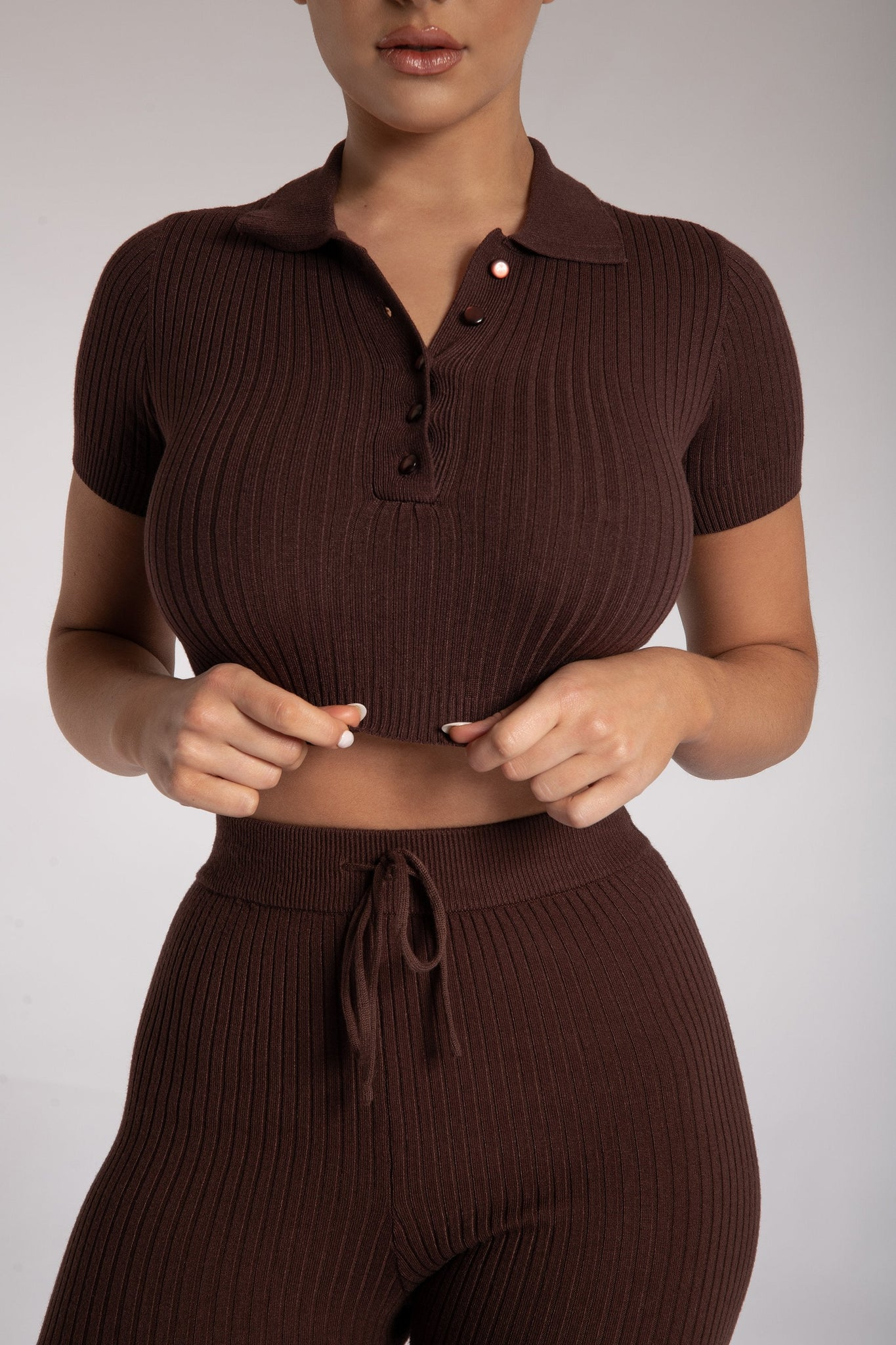 Cece Short Sleeve Cropped Polo Top - Chocolate - MESHKI