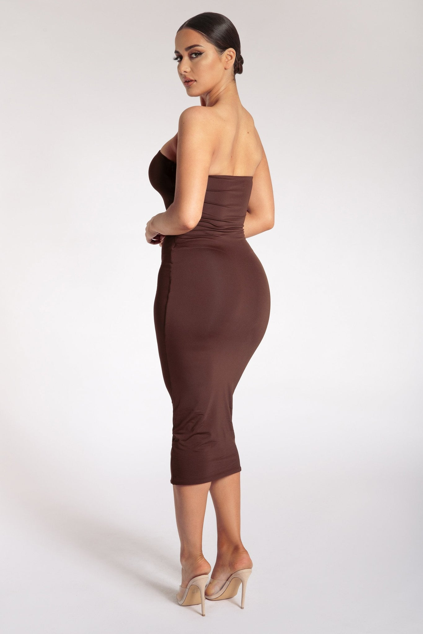 Emilee Strapless Midaxi Dress - Chocolate - MESHKI