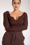 Malene V-Neck Ribbed Long Sleeve Bodysuit - Sand