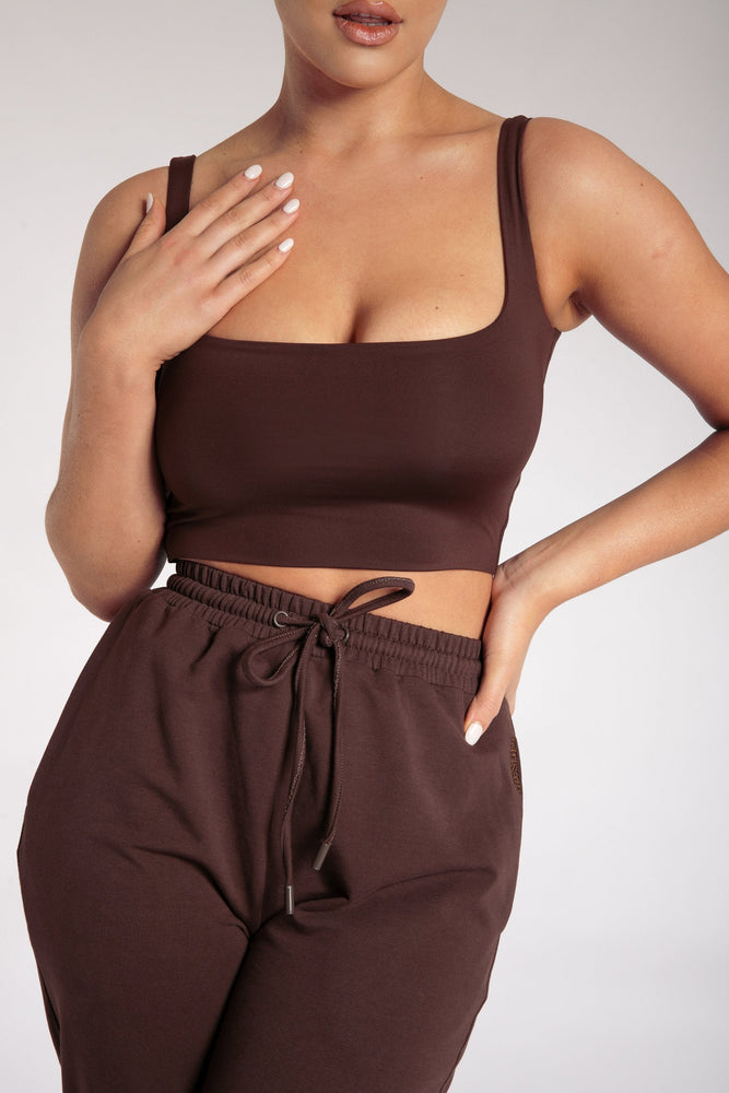 Jazmin Scoop Neck Crop Top - Chocolate - MESHKI