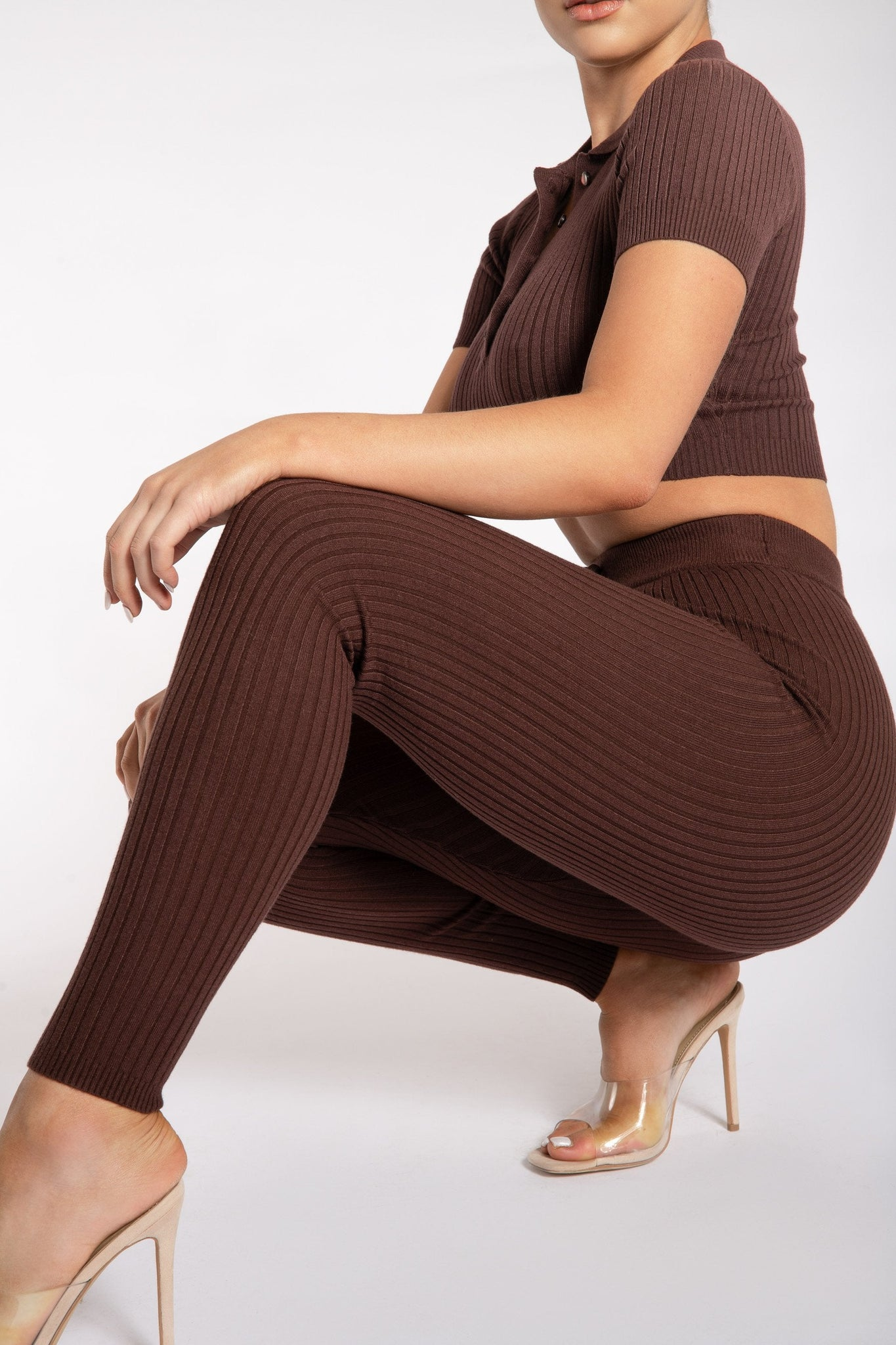 Nina Rib Knit Leggings - Chocolate - MESHKI