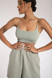 Kaiya Thin Strap Scoop Neck Crop Top - Sage - MESHKI ?id=15662366785611