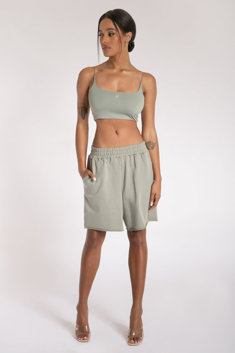 Kaiya Thin Strap Scoop Neck Crop Top - Sage - MESHKI ?id=15662366556235