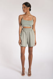 Kaiya Thin Strap Scoop Neck Crop Top - Sage - MESHKI ?id=15662366621771