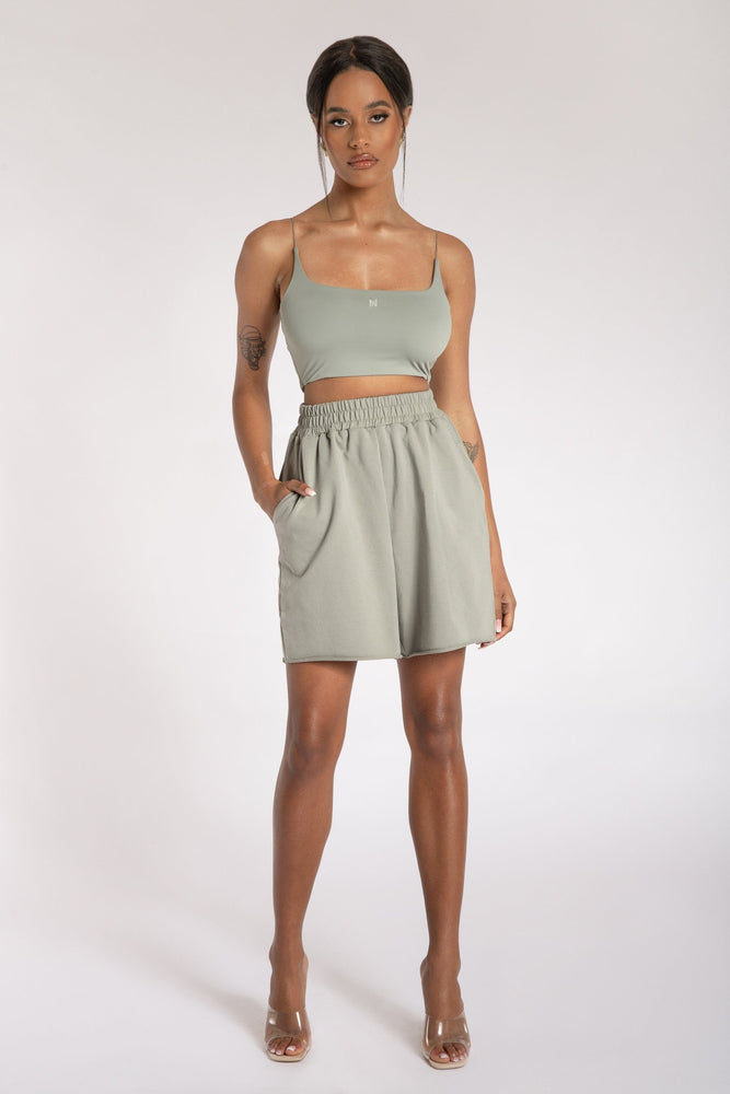 Kaiya Thin Strap Scoop Neck Crop Top - Sage - MESHKI