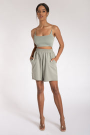 Kaiya Thin Strap Scoop Neck Crop Top - Sage - MESHKI ?id=15662366752843