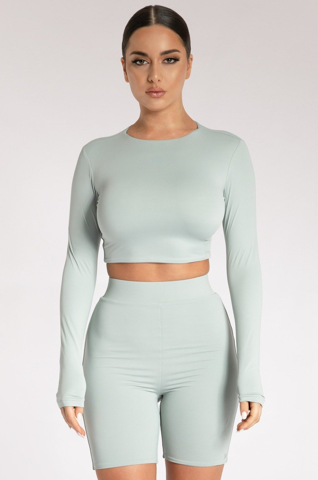 Emely Long Sleeve Crop Top - Storm - MESHKI