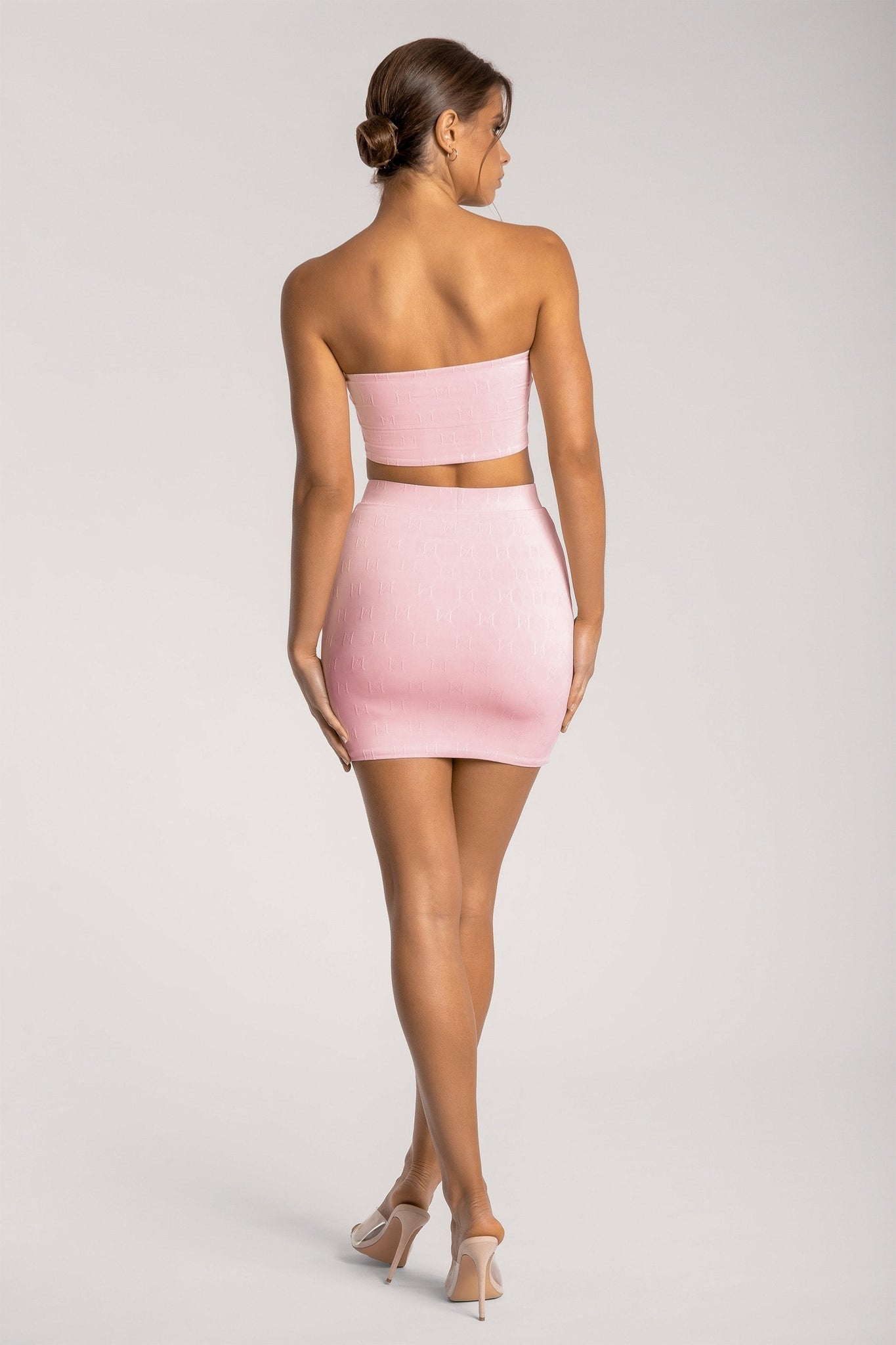 Hollie Jacquard Mini Skirt - Baby Pink - MESHKI