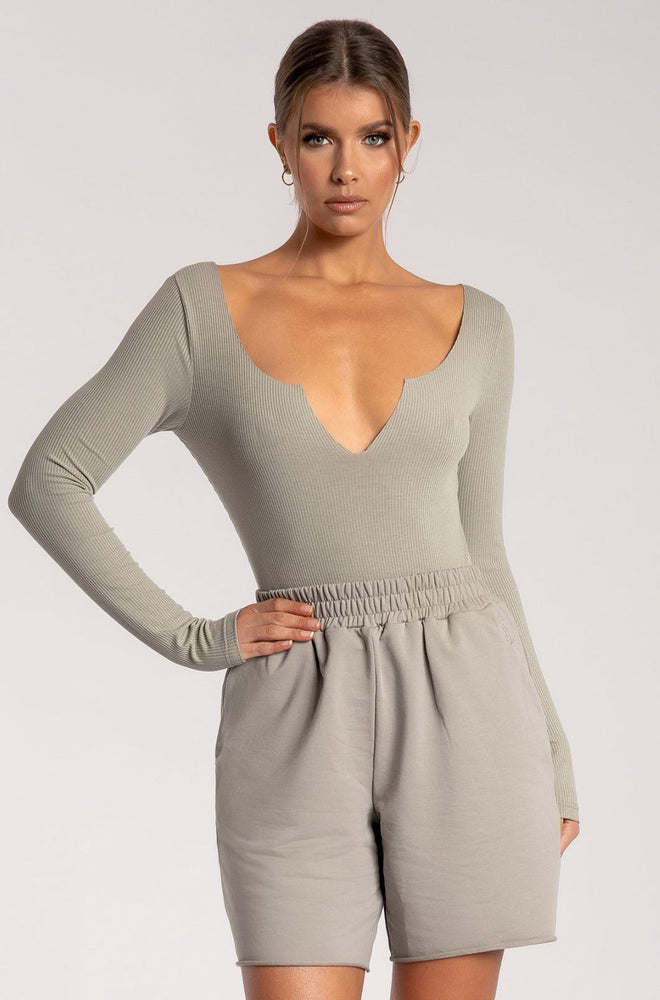 Malene V-Neck Ribbed Long Sleeve Bodysuit - Sage - MESHKI