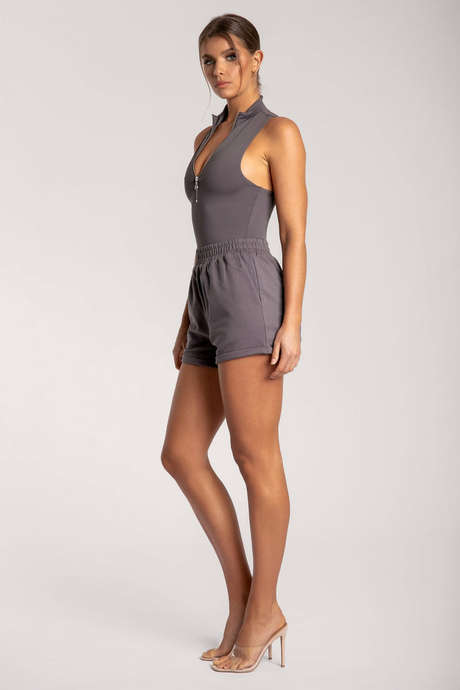 Paulina Sleeveless High Neck Zip Bodysuit - Charcoal - MESHKI