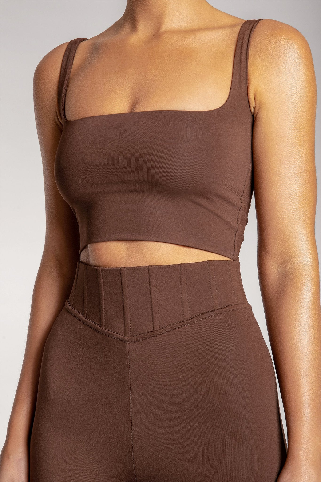 Chaya High Waisted Boned Bike Short - Chocolate - MESHKI