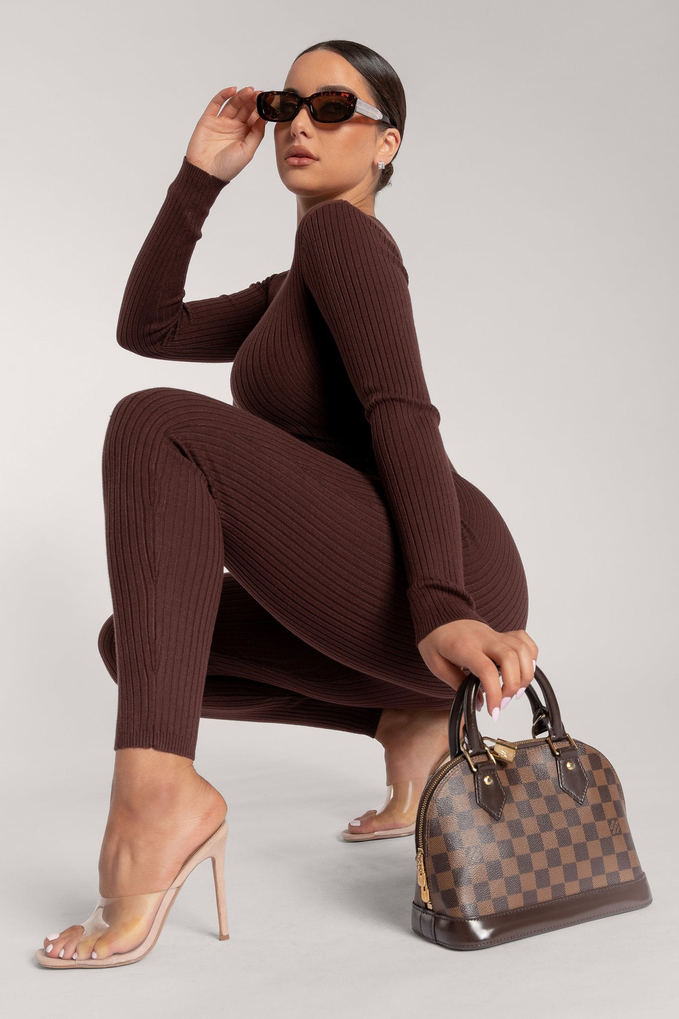 Levi Long Sleeve Fitted Jumpsuit - Chocolate - MESHKI