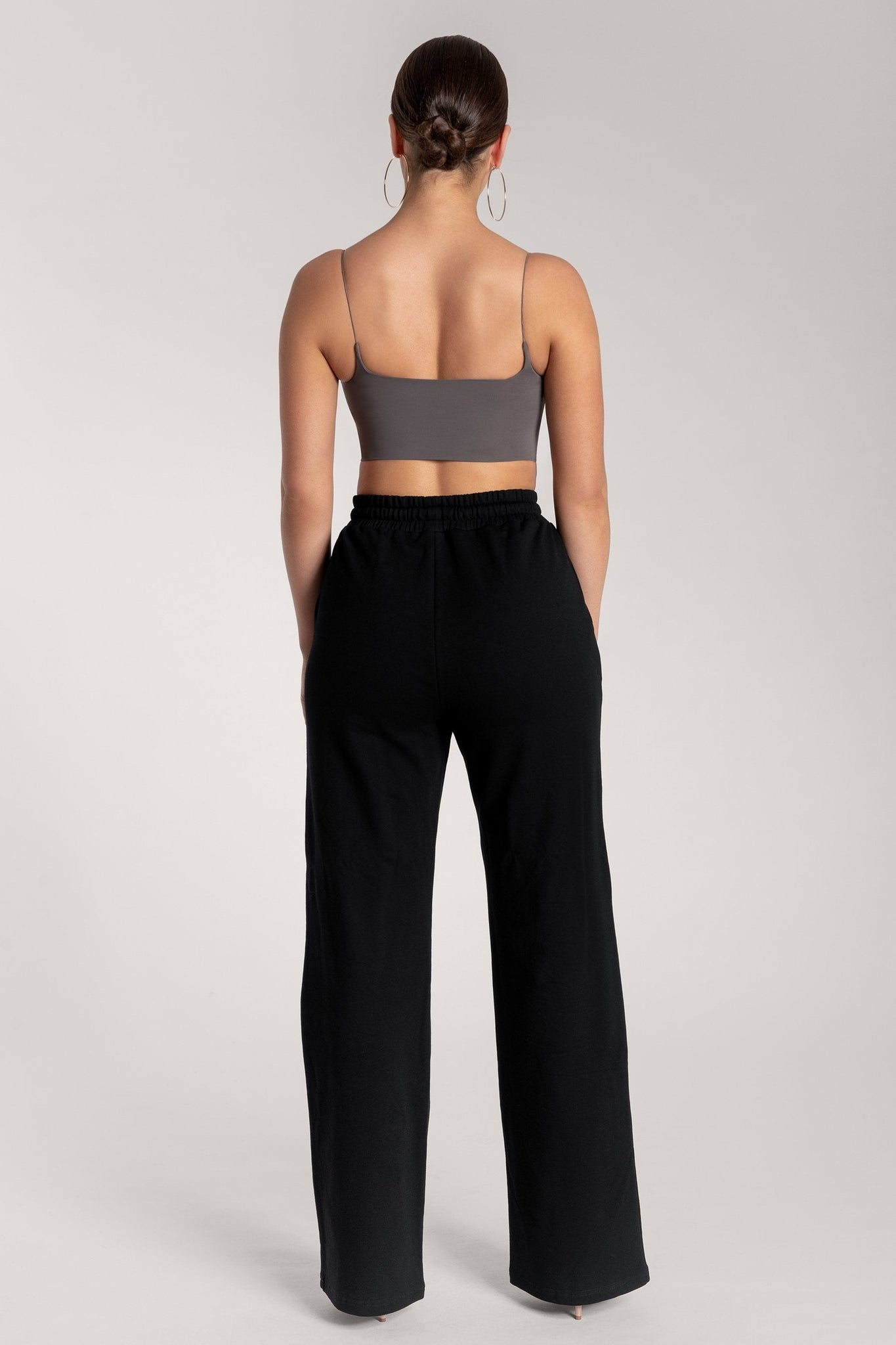 Kaiya Thin Strap Scoop Neck Crop Top - Charcoal - MESHKI