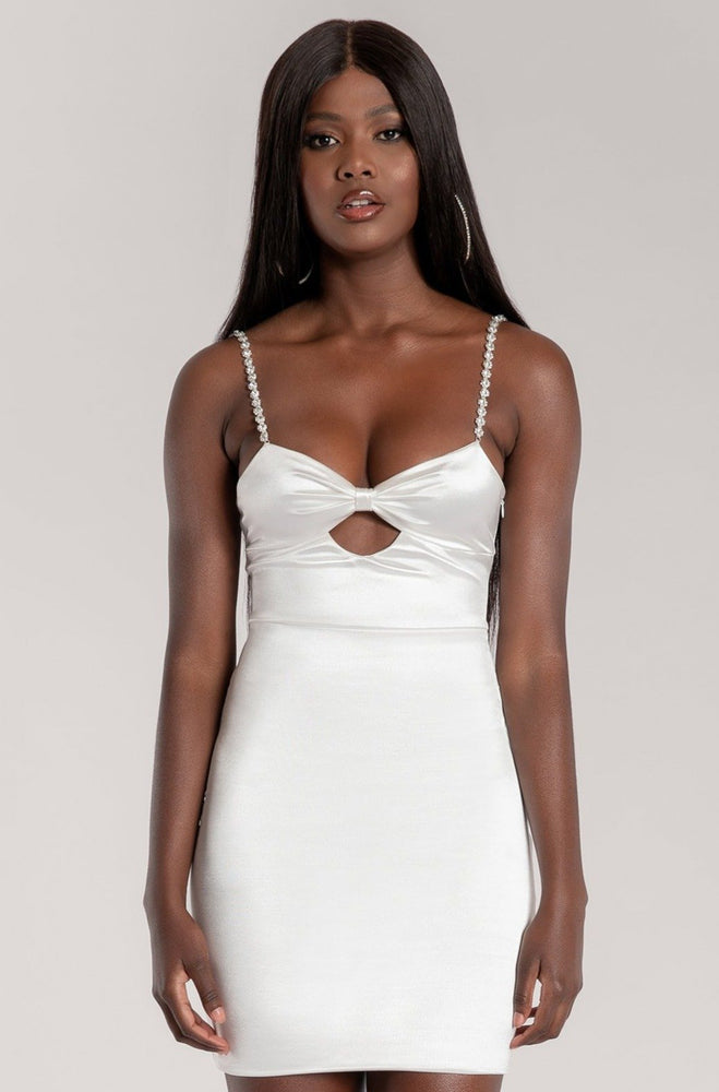 Arianna Diamante Strap Cut Out Mini Dress - White - MESHKI