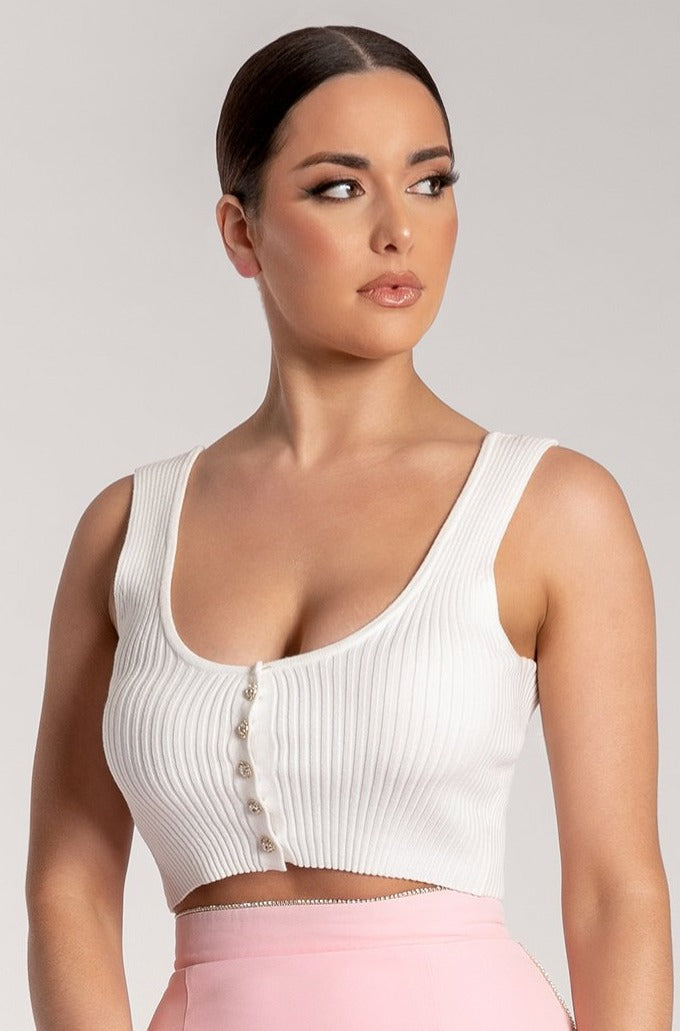 Addison Ribbed Button Crop Top - White - MESHKI