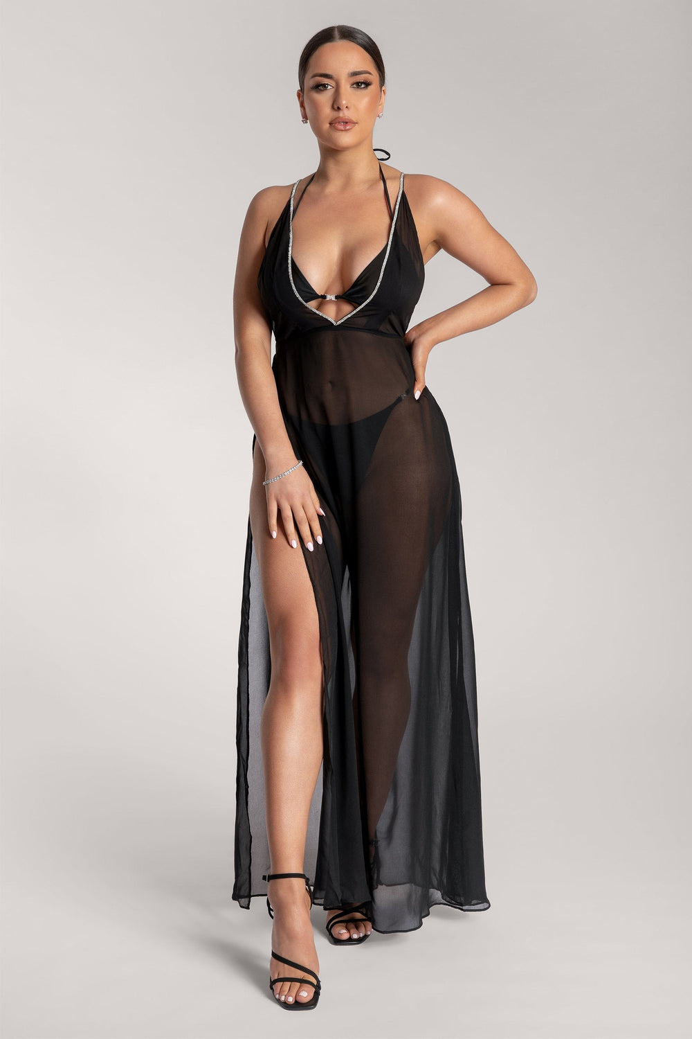 Katelin V-Neck Diamante Sheer Maxi Dress - Black - MESHKI ?id=15774831050827