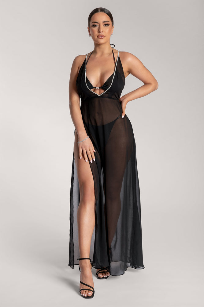 Katelin V-Neck Diamante Sheer Maxi Dress - Black - MESHKI