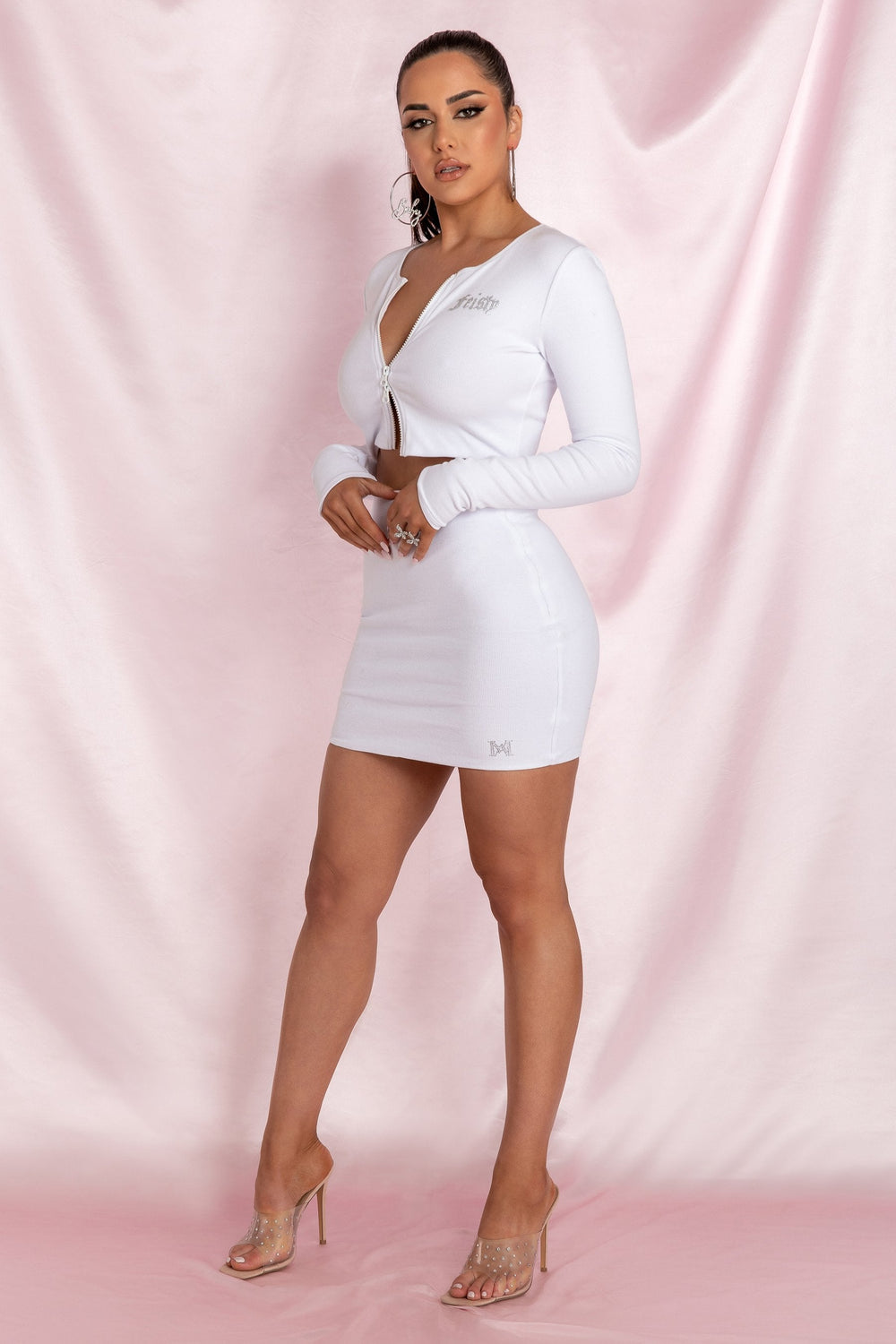 Brittney Mini Skirt - White - MESHKI ?id=15800591220811