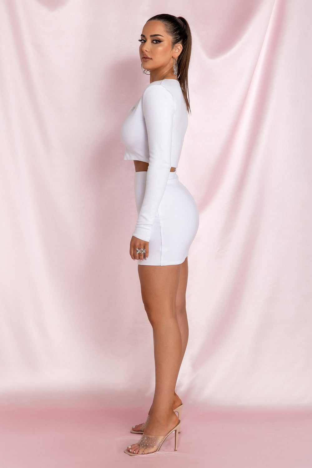 Brittney Mini Skirt - White - MESHKI ?id=15800591155275