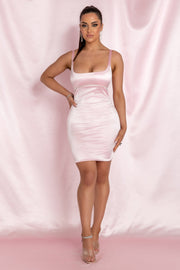 Mallory Diamante Underbust Trim Mini Dress - Baby Pink - MESHKI ?id=15800572969035