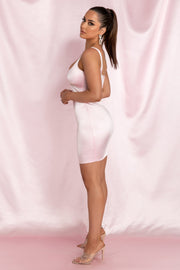 Mallory Diamante Underbust Trim Mini Dress - Baby Pink - MESHKI ?id=15800572837963