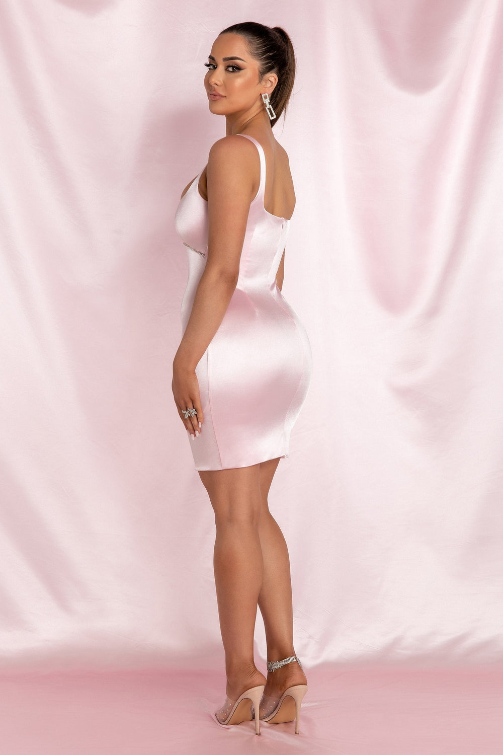 Mallory Diamante Underbust Trim Mini Dress - Baby Pink - MESHKI ?id=15800572903499