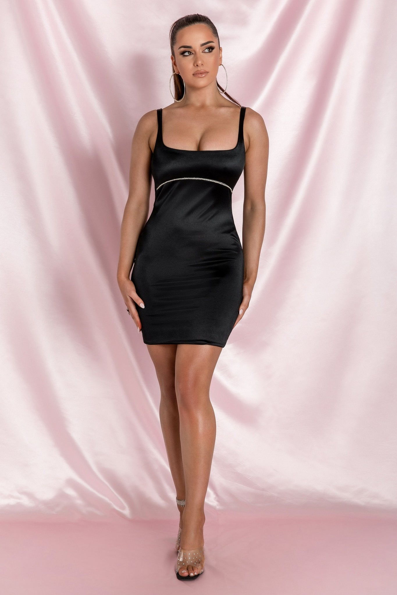 Mallory Diamante Underbust Trim Mini Dress - Black - MESHKI