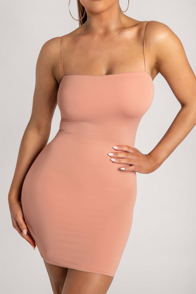 Mia Thin Strap Bodycon Mini Dress - Apricot - MESHKI