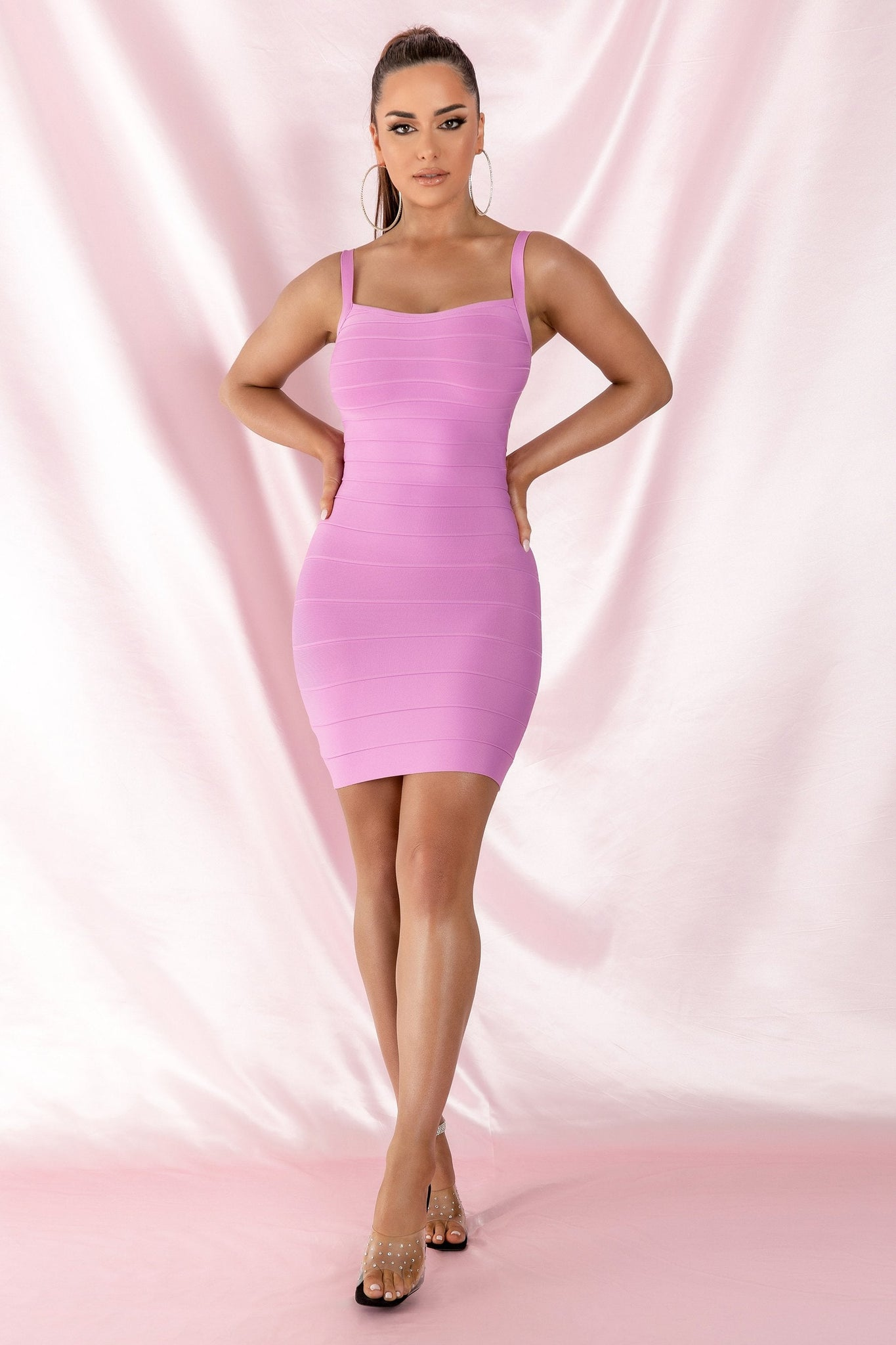 Casey Panelled Bandage Mini Dress - Lilac - MESHKI