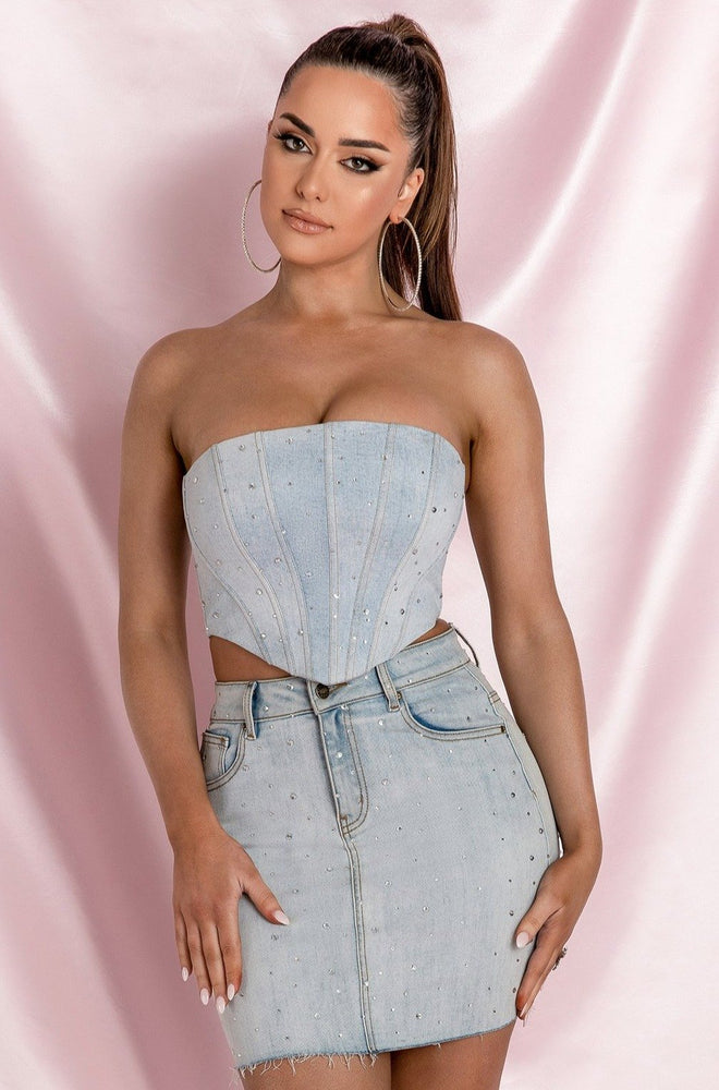 Bridget Strapless Diamante Denim Corset Crop Top - Light Denim - MESHKI