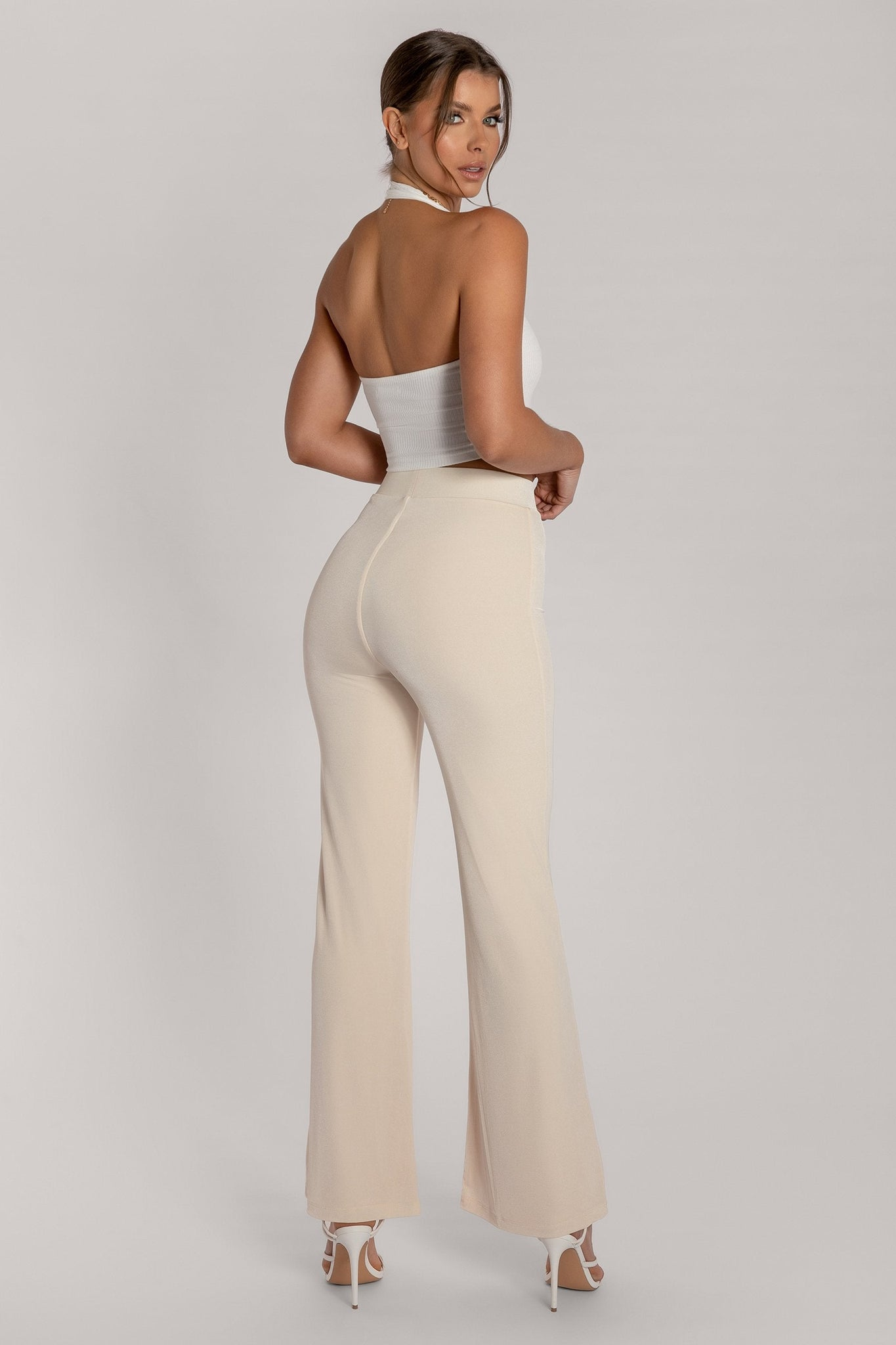 Mei Luxe Jersey Full Length Wide Leg Trouser - Cream - MESHKI