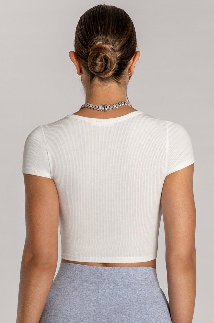 Basia Button Up Crop Top - White - MESHKI