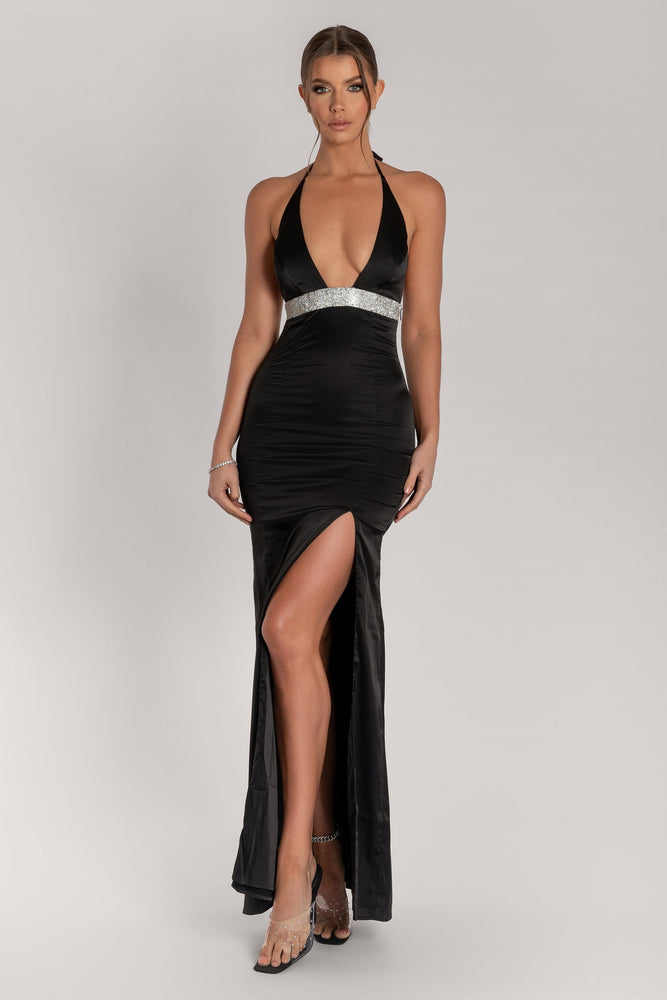 Kailey Halter Diamante Trim Maxi Dress - Black - MESHKI