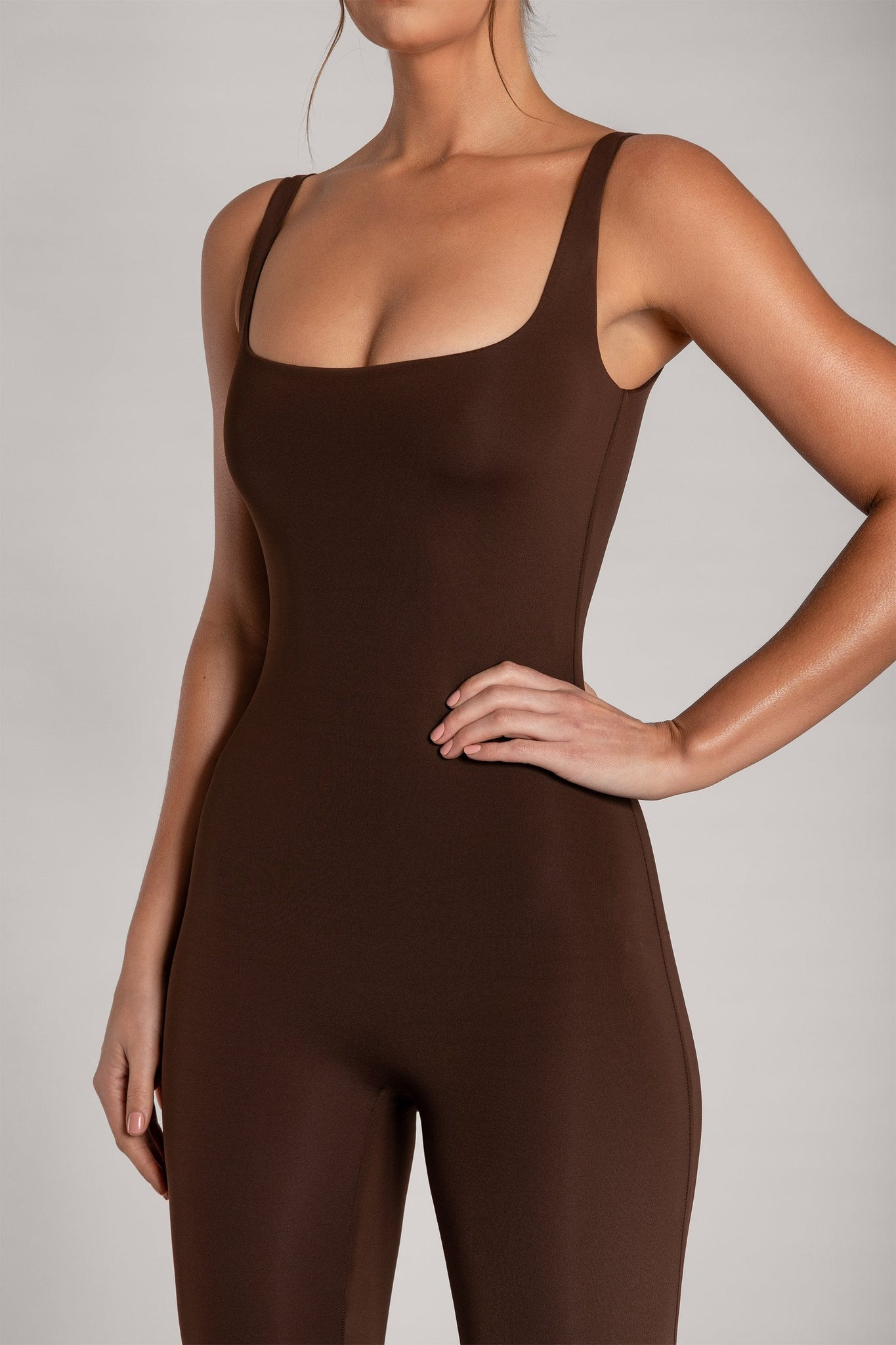Averie Sleeveless Cami Fitted Jumpsuit - Chocolate - MESHKI