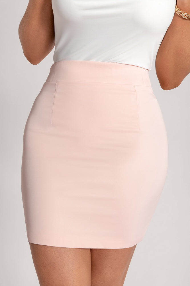 Kenda Plain Mini Skirt - Blush - MESHKI