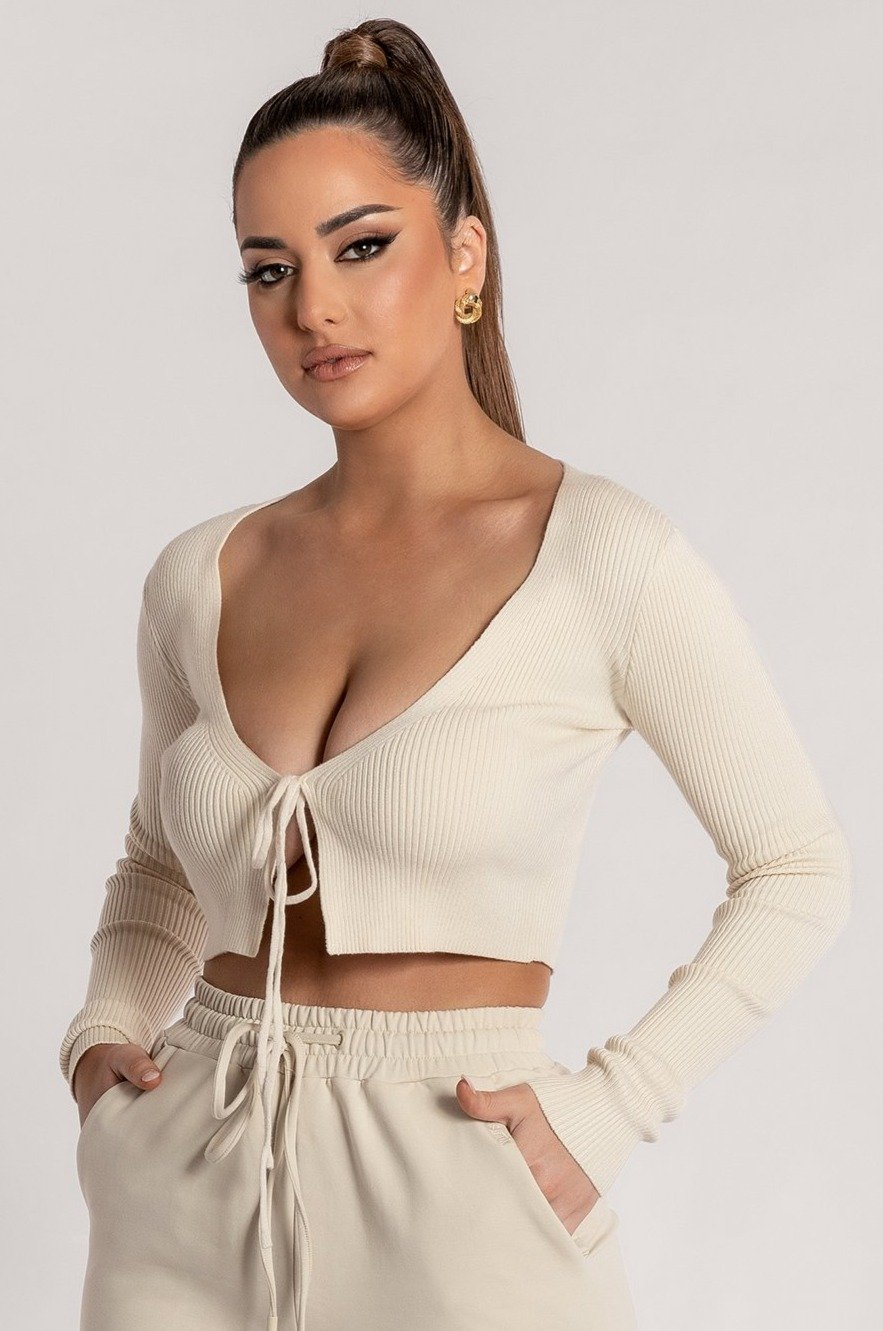 Bobbie Ribbed Tie Front Crop Top - Cream - MESHKI ?id=15900355985483