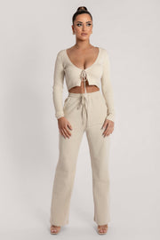 Bobbie Ribbed Tie Front Crop Top - Cream - MESHKI ?id=15900356149323