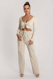 Bobbie Ribbed Tie Front Crop Top - Cream - MESHKI ?id=15900356280395