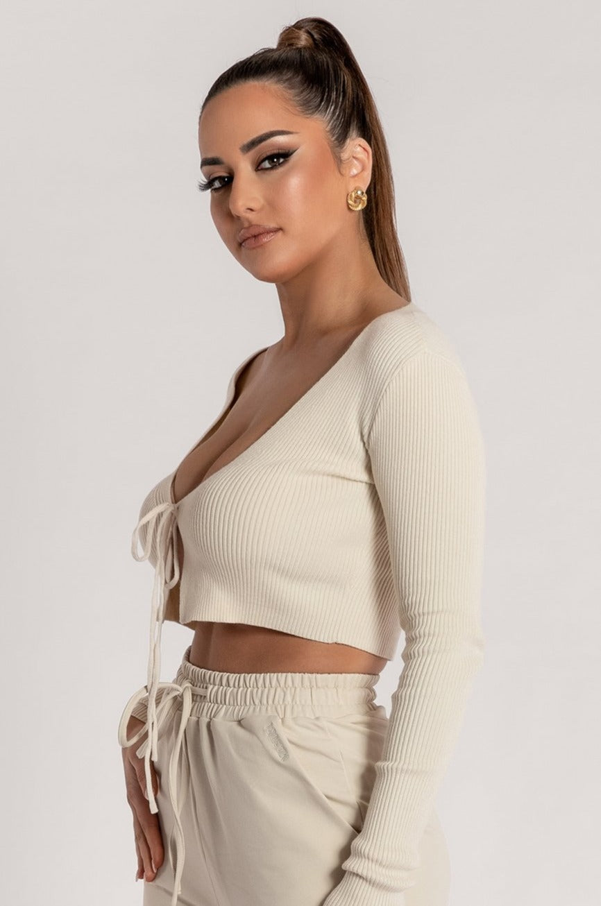 Bobbie Ribbed Tie Front Crop Top - Cream - MESHKI ?id=15900356051019