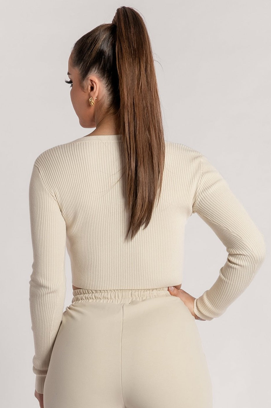 Bobbie Ribbed Tie Front Crop Top - Cream - MESHKI ?id=15900356214859