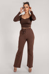 Vanessa Wide Leg Jogger - Chocolate