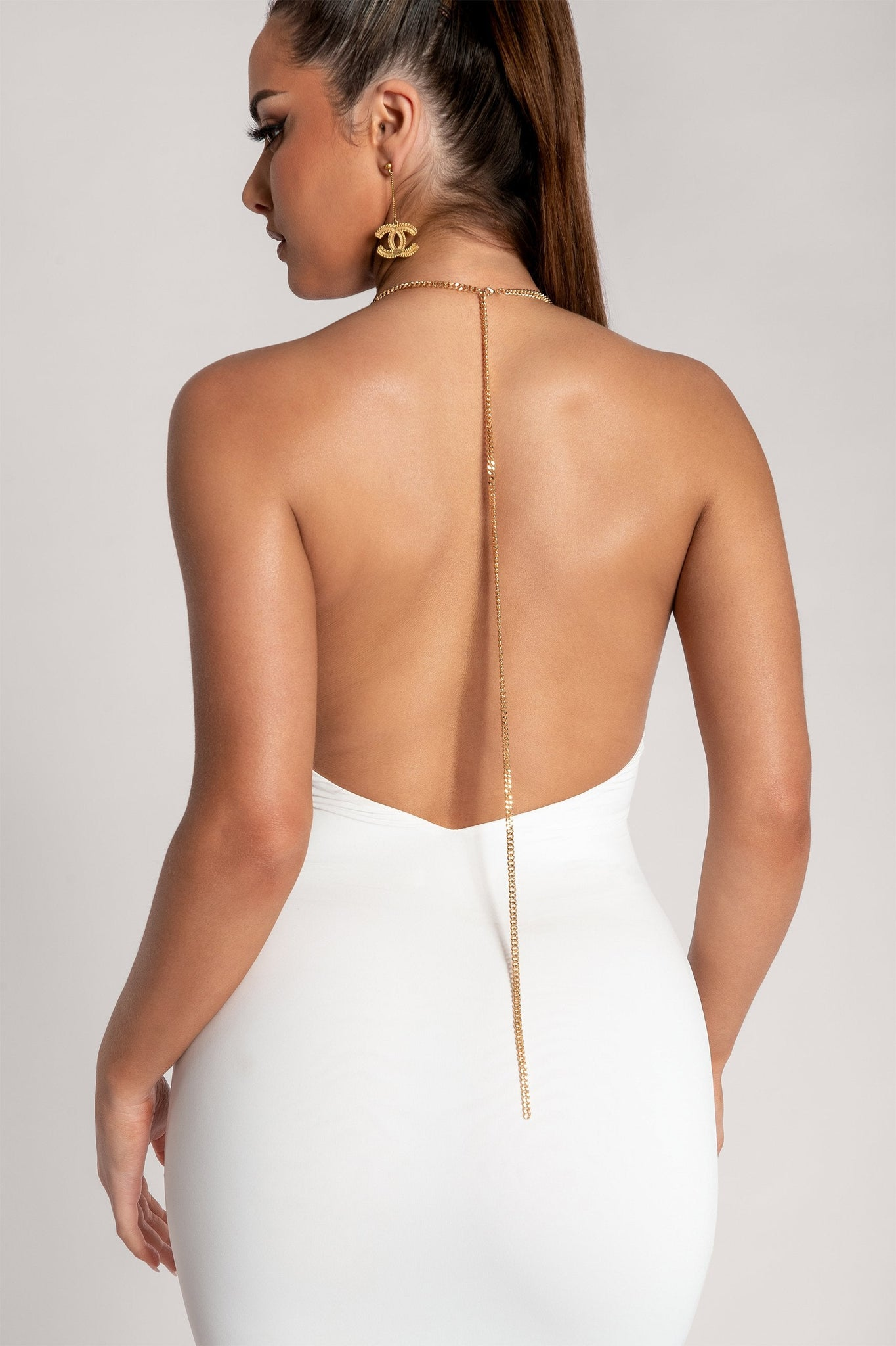 Nyx Plunge Halter Chain Strap Midi Dress - White - MESHKI
