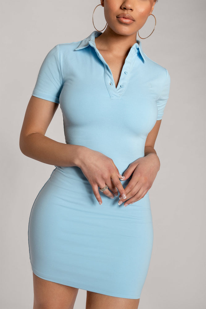 Monroe Collar Bodycon Dress - Baby Blue - MESHKI