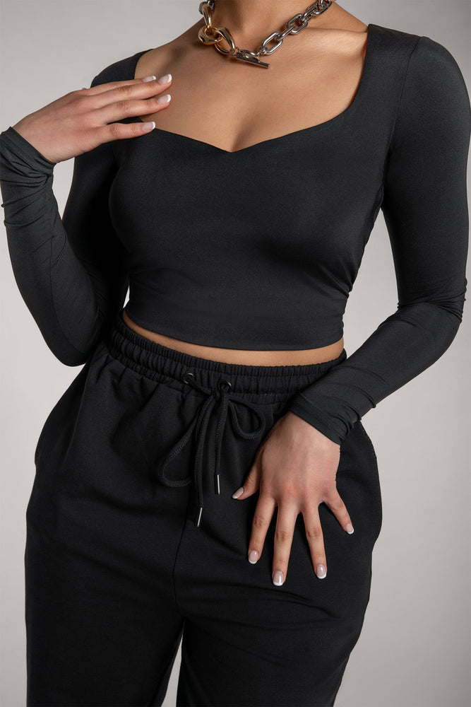 Kady Sweetheart Neckline Long Sleeve Top - Black - MESHKI