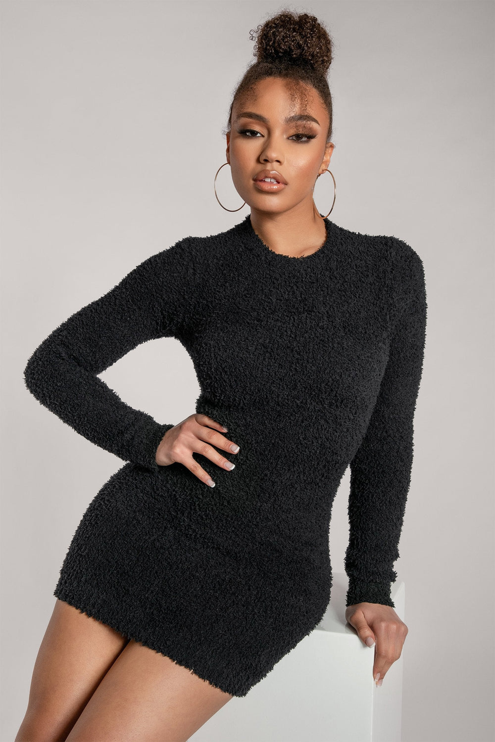 Lorin Popcorn Cut Out Back Long Sleeve Mini Dress - Black - MESHKI ?id=15939404267595